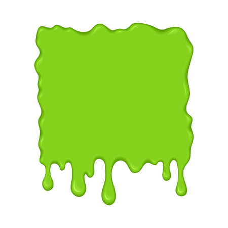 mollusc: Vector illustration - slime drips and flowing. Abstract green splash liquid. Halloween banner in cartoon style. Stain shape isolated on white background Illustration