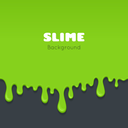 dribble: Background of dribble slime. Flowing green sticky liquid. Melted paint drips and flowing. Vector halloween illustration with toxic blob on grey