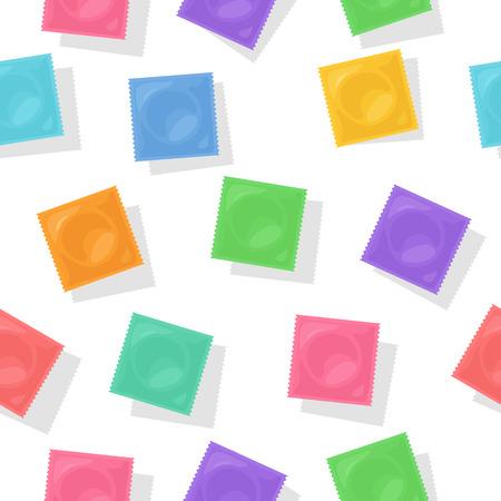 벡터 배경과 다채로운 콘돔 팩입니다. 피임 패키지 디자인을위한 평면 일러스트. 안전 섹스와 피임의 상징.