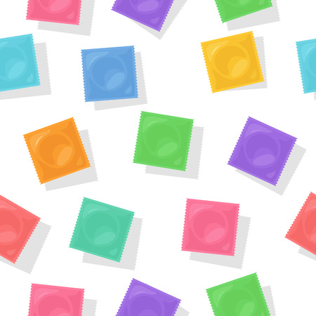 Vector background with colorful condom packs. Flat illustration for contraceptive package design. Symbol of safety sex and birth control. Vettoriali