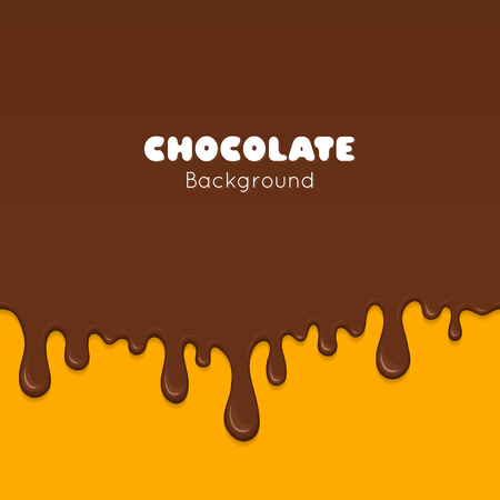 snack bar: Background of flowing dark chocolate. Splash of melt brown sweet liquid. Melted chocolate drips and flowing. Abstract vector illustration