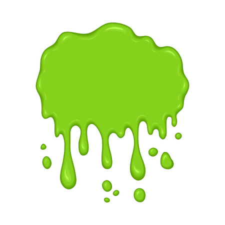 Vector illustration - slime drips and flowing. Abstract green splash liquid. Halloween banner in cartoon style. Stain shape isolated on white background Vettoriali