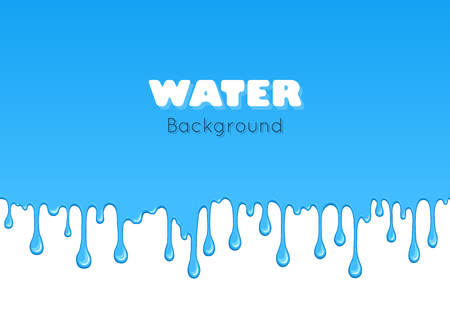 dribble: Background of dribble water. Flow of liquid. Blue glossy paint drips and flowing. Vector cartoon illustration. Abstract creative graphic element for your design