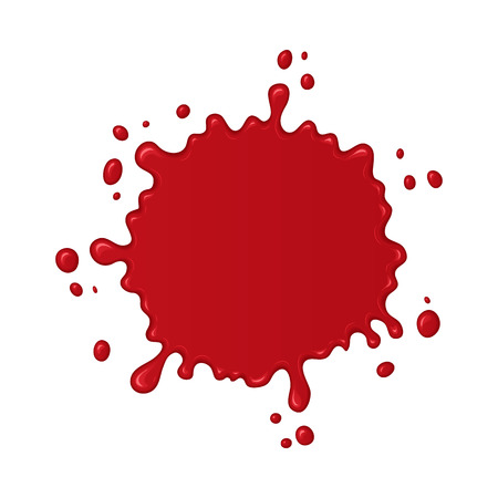 Blood splash. Stain or drop of red liquid. Abstract vector illustration. Isolated splatter or blot of paint on white background. Halloween design for banner and flyers
