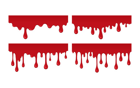 paint drips: Set of blood drips. Red liquid drop and splash. Paint drips and flowing. Collection bloody element for halloween design. Abstract vector illustration isolated on white background.