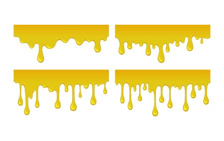흐름 및 녹은 꿀 드롭의 집합입니다. 스티커 노란색 달콤한 액체를 물방울. 오렌지 시럽, 기름 방울입니다. 흰색 배경에 벡터 일러스트 레이 션. 스트림