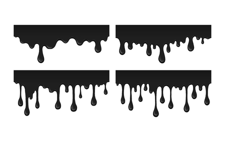 the leak: Oil leak. Illustration splash drops of ink blob. Flow black paint - abstract vector desin isolated element. Droplets of black liquid on white background.