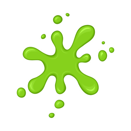 Green slime splash blot. Slime blot isolated on white background. Vector green abstract shape Ilustração