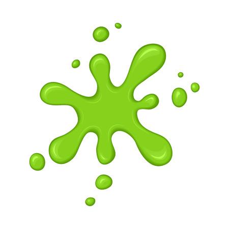 Green slime splash blot. Slime blot isolated on white background. Vector green abstract shape Vettoriali