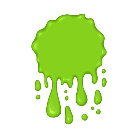 Vector illustration - slime drips and flowing. Abstract green splash liquid. Halloween banner in cartoon style. Stain shape isolated on white background  イラスト・ベクター素材