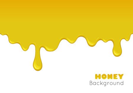 꿀 아래로 흐르는 벡터 배경. 금 끈적 끈적한 액체 물방울과 흐름의 그림. 달콤한 노란색 오렌지 시럽, 카라멜, 페인트 또는 오일의 스플래시. 추상 원