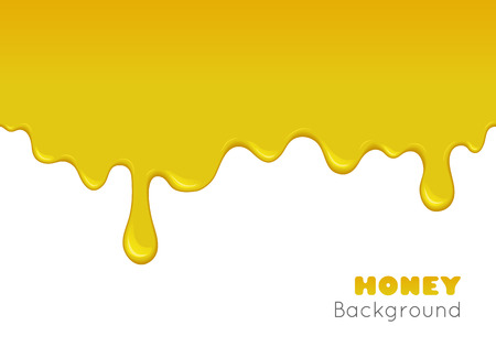 Vector background with flowing down honey. Illustration of gold sticky liquid drip and flow. Splash of sweet yellow orange syrup, caramel, paint or oil. Abstract seamless pattern.