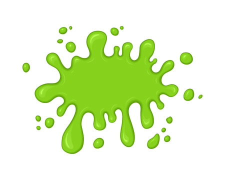 녹색 점액 시작 오. 점액 흰색 배경에 고립시킨다. 벡터 녹색 추상적 인 모양