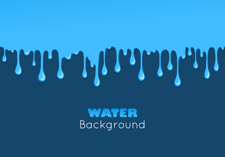 paint drips: Background of dribble water. Flow of liquid. Blue glossy paint drips and flowing. Vector cartoon illustration. Abstract creative graphic element for your design