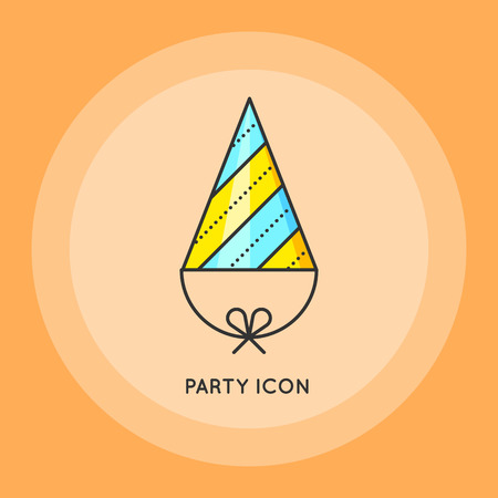party design: Party hat. Symbol of holiday of birthday celebration. Flat design. Thin line style. Vector flat illustration.