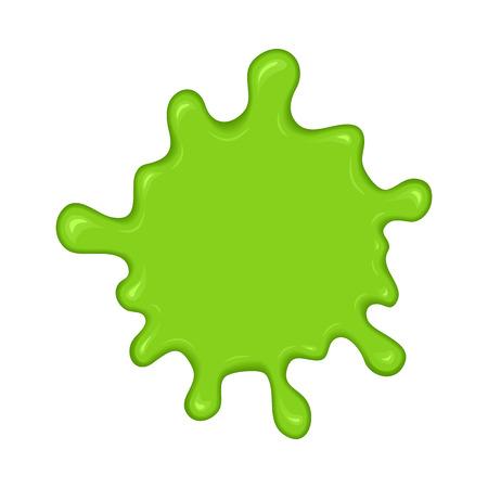 Green slime splash blot. Slime blot isolated on white background. Vector green abstract shape Ilustração