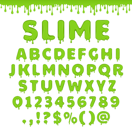 Green slime font. Alphabet with flow drops and goo splash. Vector latin abc. Liquid toxic, radioactive text in zombie style. Numbers and symbols isolated on white background.