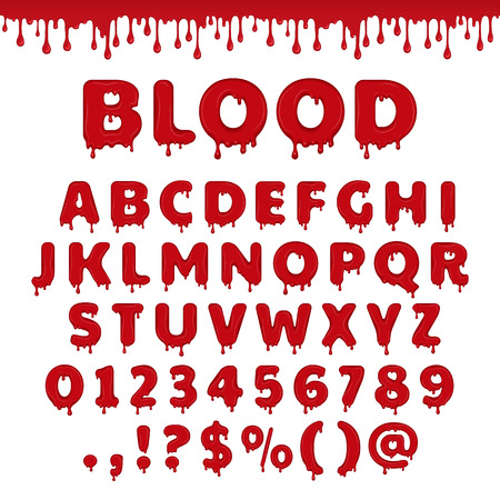 gloomy: Bloody latin alphabet, abc. font set with blood drop or red liquid. Wet numbers and letter symbols in halloween horror style. Scary text isolated on white background. Illustration