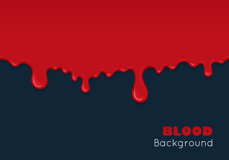 Background with drips and flow of blood. Abstract splash of red liquid. wet surface with paint drops. Bloody and scary design for Halloween or illustration of crime. Illustration