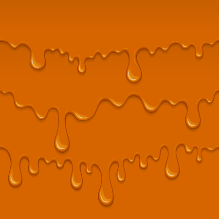 Illustration of caramel sweet drips and flowing. Splash, drops and flow melted candy, brown sugar syrup or honey. Abstract  isolated on white background.