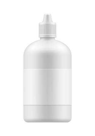 eye 3d: Vector blank bottle with cap. Closed white medical container with label - 3d object for design. Plastic packing realistic template. Mockup packaging. Medicine Eye Wash Bottles. Liquid lens