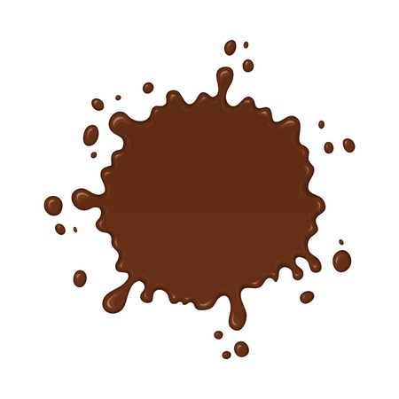 Chocolate splash blot with drops. Chocolate blot with melting effect. Vector abstract spot on white background. Illustration