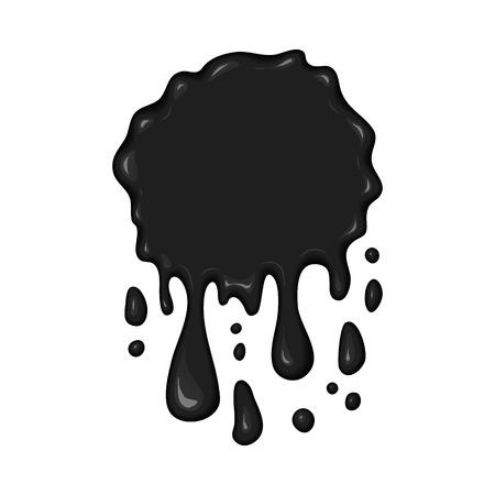 splattered: Vector blob of ink or oil. Splattered stain of paint, splash, drop black liquid. Design element for banner. Abstract vector illustration with splatter and blot isolated on white background.