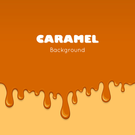 caramel sauce: Illustration of caramel sweet drips and flowing. Splash, drops and flow melted candy, brown sugar syrup or honey. Abstract vector banner isolated on yellow background. Illustration
