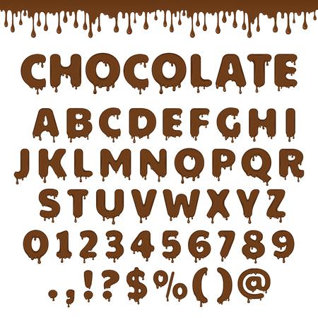 다크 초콜릿 라틴 알파벳, abc입니다. 흐름 및 녹는 갈색 초콜릿 또는 액체의 드롭 벡터 글꼴 형식. 달콤한 사탕이나 코코아 디저트 포장 디자인 들어.  일러스트