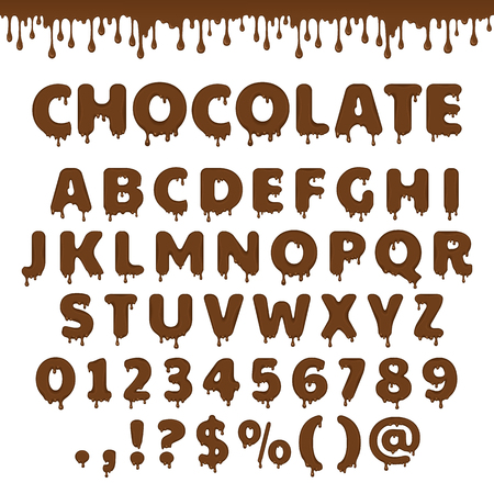 Dark chocolate latin alphabet, abc. Vector font type with flow and drop of melting brown chocolate or liquid. For sweet candy or cocoa dessert packaging design. Numbers and symbols isolated on white