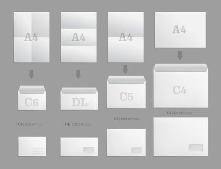 Set of white paper envelopes for business document or letter. Vector blank mockups. White empty post envelope with transparent window. Full and folded A4 size. Illustration isolated on gray background Vettoriali