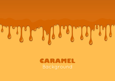 brown sugar: Illustration of caramel sweet drips and flowing. Splash, drops and flow melted candy, brown sugar syrup or honey. Abstract vector banner isolated on yellow background. Illustration