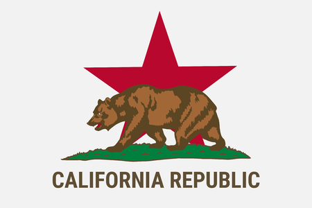 Drapeau de l'état de la république de Californie avec l'ours brun. Campagne pour l'indépendance de la Californie - Calexit. Etat-Unis d'Amérique