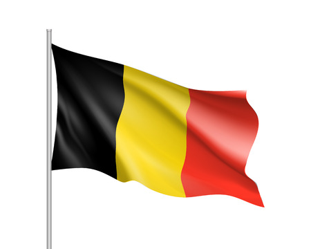 Waving flag of Belgium state. Illustration of European country flag on flagpole with black, yellow and red colors. Vector 3d icon isolated on white background