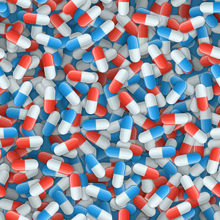 Seamless pattern with white, blue and red medical capsules. Pharmacology vector illustration with pharmaceuticals. Medicine background for wrapping of pills or drugs. Pharmacy design. Illustration