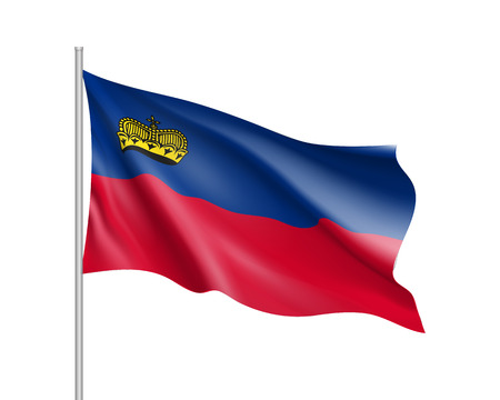 Waving flag of Liechtenstein state. Illustration of European country flag on flagpole with red and white colors. Vector 3d icon isolated on white background