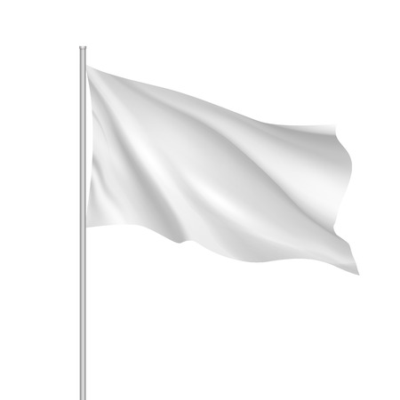 hang up: White waving flag template. Clean horizontal flag, for your design. Empty blank of flag on flagpole. Vector 3d mockup.