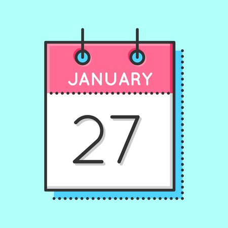 holocaust: Vector Calendar Icon. Flat and thin line vector illustration. Calendar sheet on light blue background. January 27th