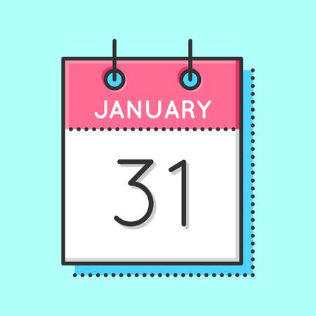 31th: Vector Calendar Icon. Flat and thin line vector illustration. Calendar sheet on light blue background. January 31th