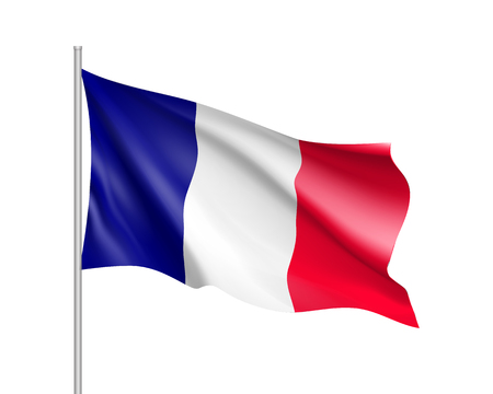 Waving flag of France state. Illustration of European country flag on flagpole with red and white colors. Vector 3d icon isolated on white background Stock Illustratie
