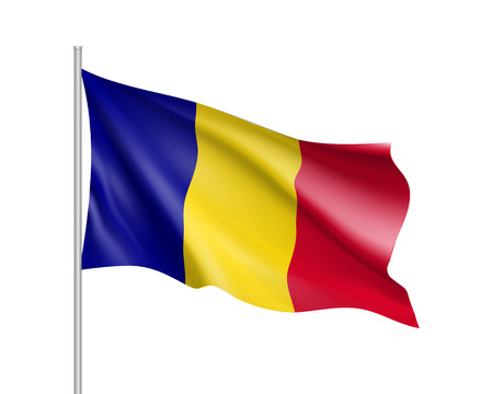 Waving flag of Romania state