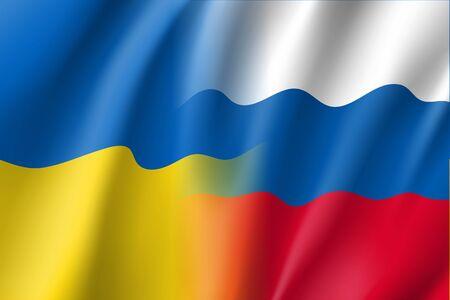 fraternity: Russian and Ukrainian vector flag.