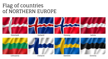 Waving flags of Northern countries.