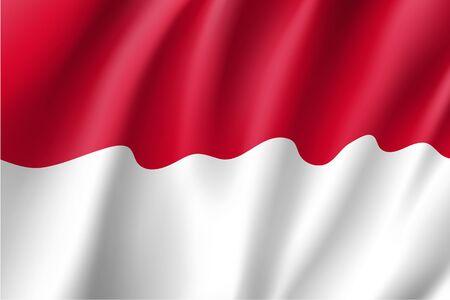 Waving flag of Monaco Illustration
