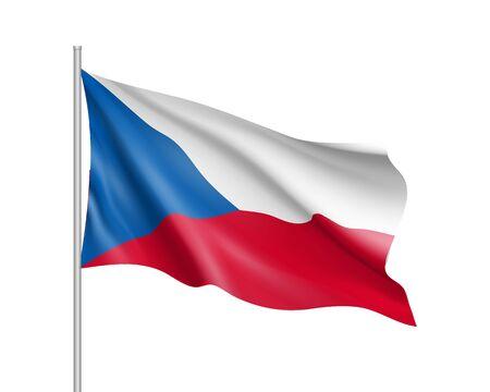 Waving flag of Czech Republic state Illustration