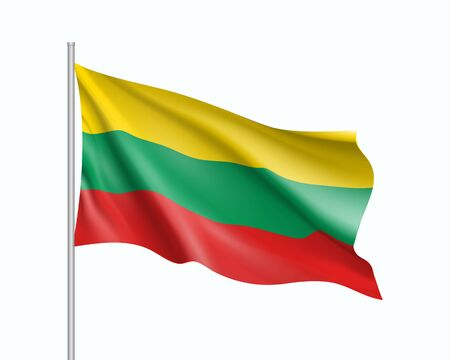 Waving flag of Lithuania state