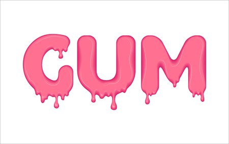 Word made of pink gum.