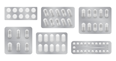 3d packaging for drugs: painkillers, antibiotics, vitamins and aspirin tablets. Set of white blisters realistic icons with pills and capsules. Vector illustrations of pack isolated on background Ilustração