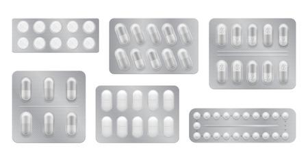 Opakowanie 3D dla leków: leki przeciwbólowe, antybiotyki, witaminy i tabletki aspiryny. Zestaw białych blistrów realistyczne ikony z pigułek i kapsułek. Ilustracje wektorowe pack samodzielnie na tle Ilustracje wektorowe