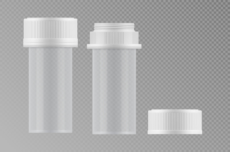 empty jar: Empty plastic or glass transparent medical jar with cap. Container with clean surface. Blank template of packaging. Realistic 3d mock-up of package. Vector illustrations of medicine pack